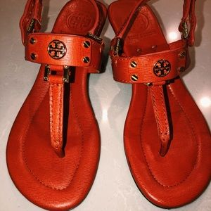 Tory Burch Orange Leather Heeled Sandals